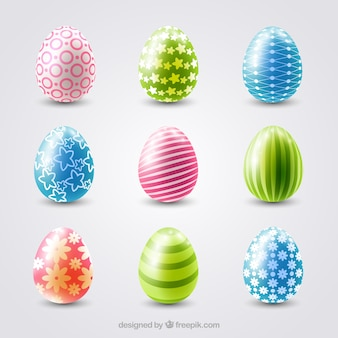 Assortment of realistic easter eggs with colorful designs