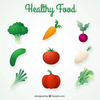 Assortment of realistic healthy food