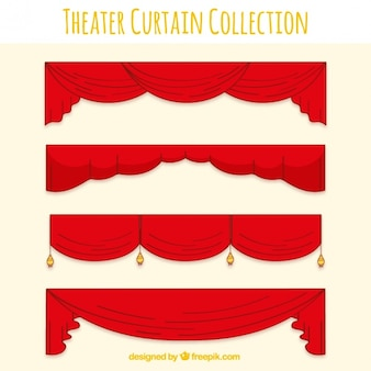 Assortment of red decorative theater curtains