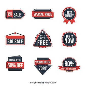 Assortment of retro discount stickers