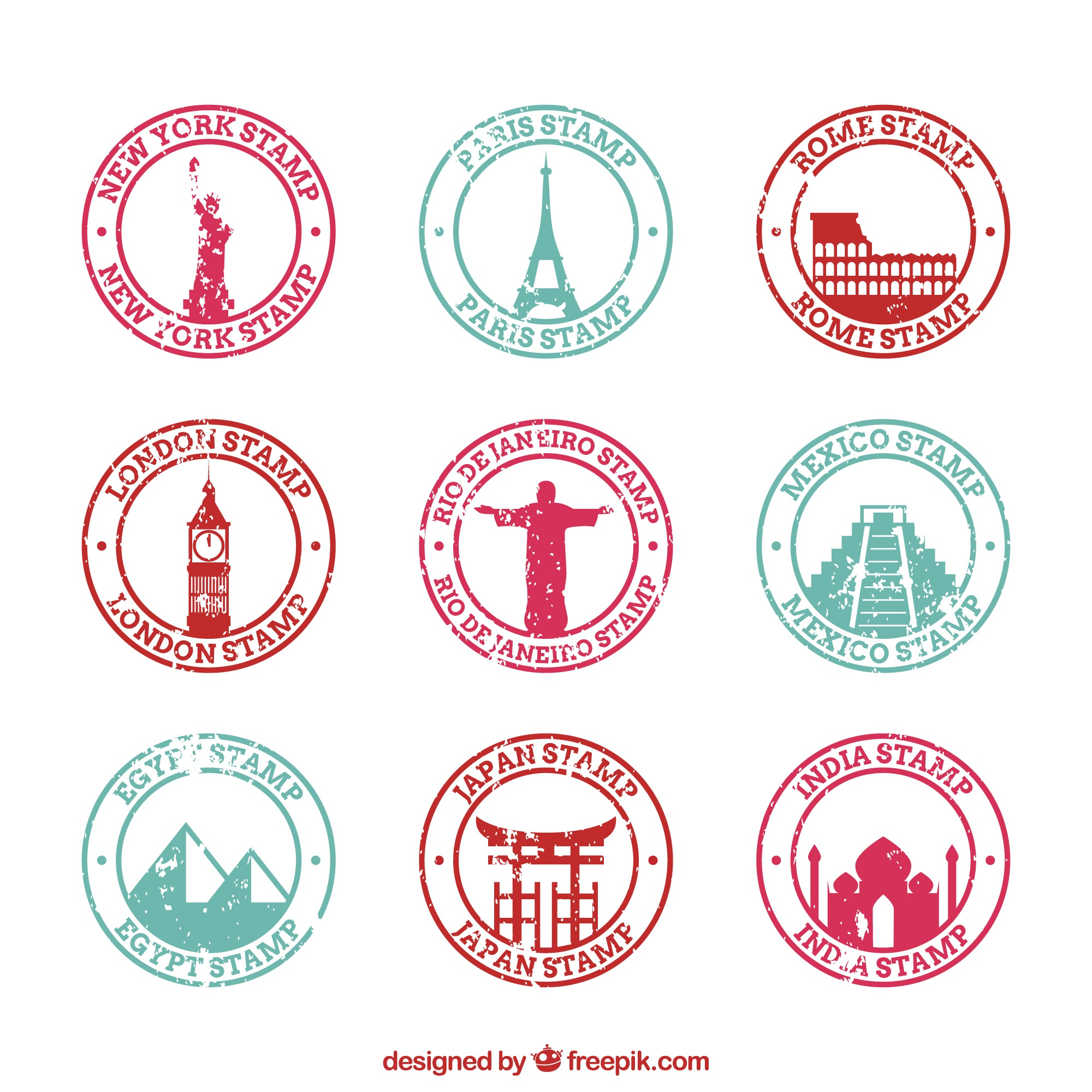 Assortment of round city stamps