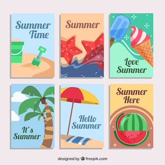Assortment of six decorative summer cards in flat design