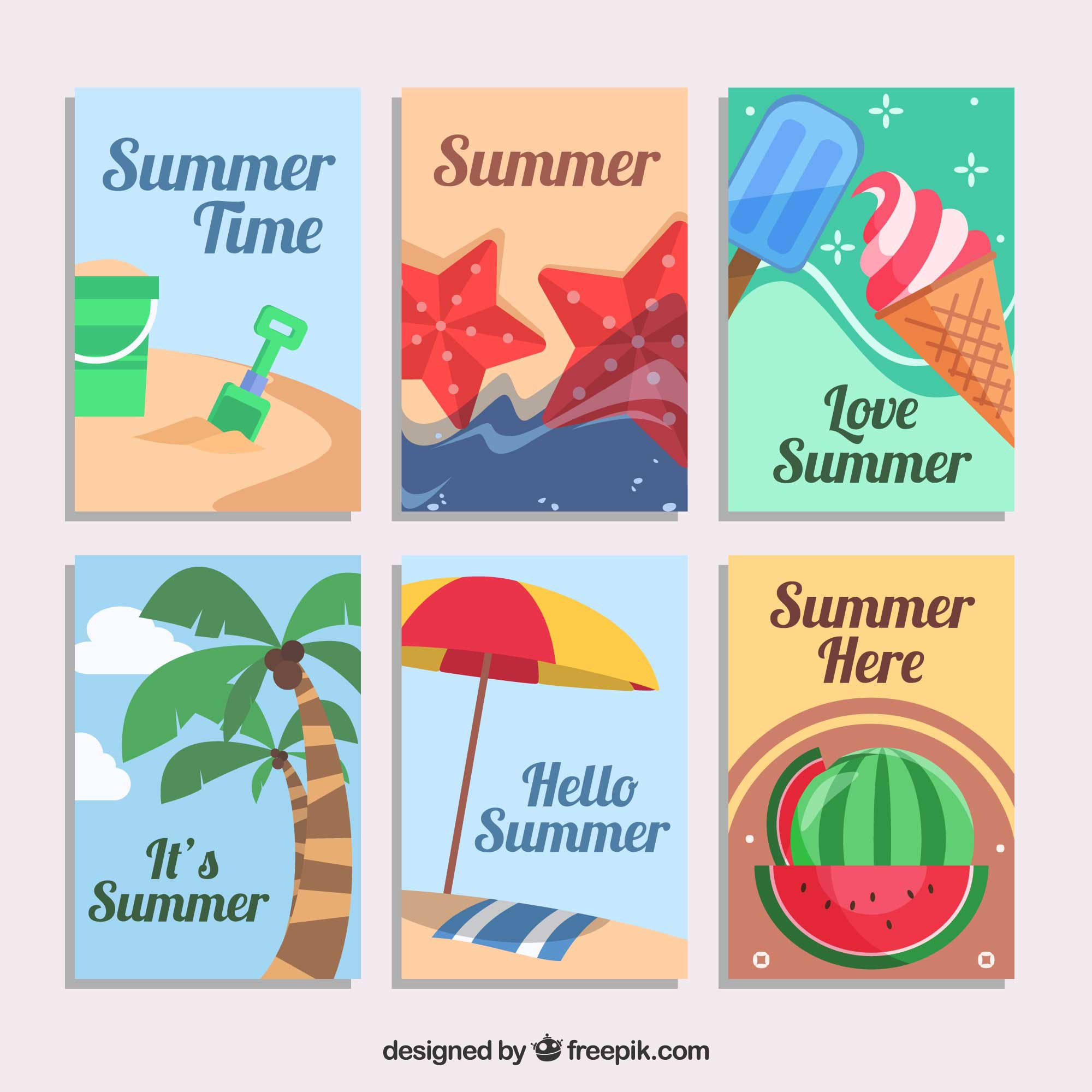 Assortment of six decorative summer cards in flat design