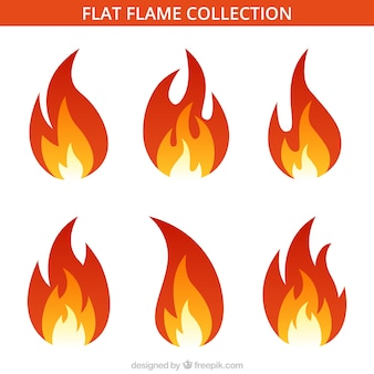 Assortment of six flat flames