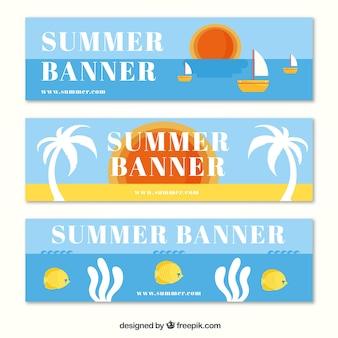 Assortment of summer banners in flat design