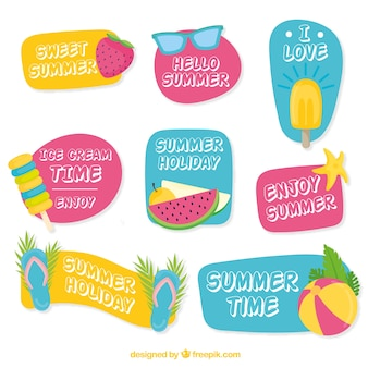 Assortment of summer stickers with messages