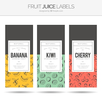 Assortment of three fruit juice labels