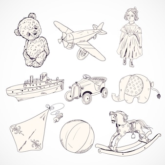 Assortment of toys in retro style