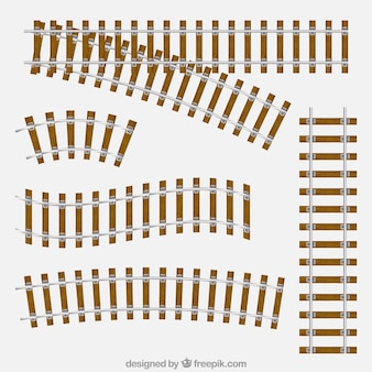 Assortment of train tracks with planks