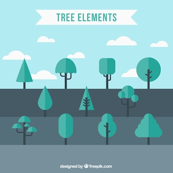 Assortment of trees in flat design