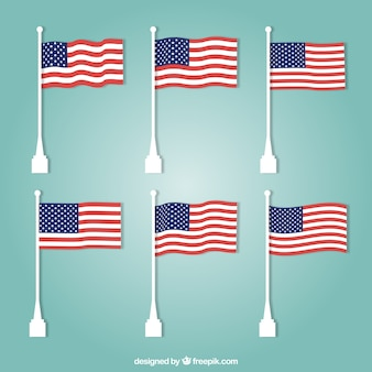 Assortment of united states flags in flat design