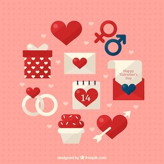 Assortment of valentine elements
