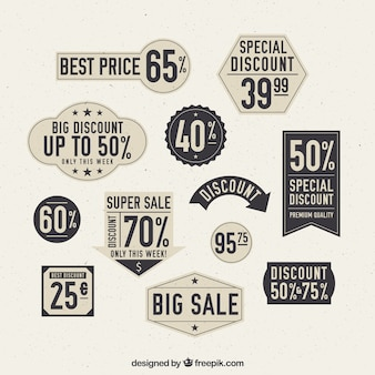 Assortment of vintage labels with special discounts