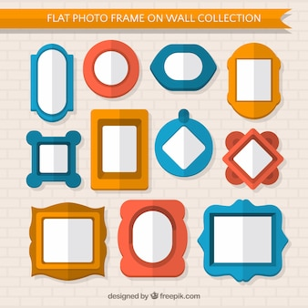 Assortment of vintage photo frames in flat design
