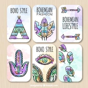 Assortment of watercolor boho labels