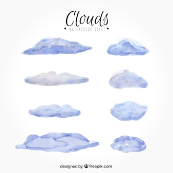 Assortment of watercolor clouds