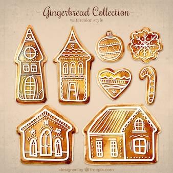 Assortment of watercolor gingerbread cookies