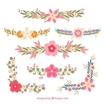 Assortment of wedding arrangement in flat design