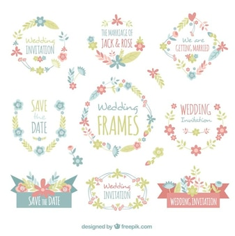 Assortment of wedding frames in pastel colors