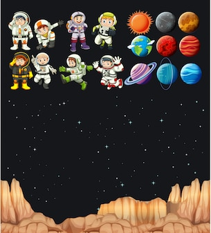 Astronaunts and different planets in universe