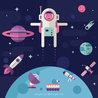 Astronaut background in space in flat design