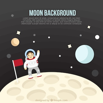 Astronaut background on the moon