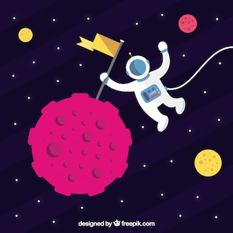 Astronaut universe background with a flag