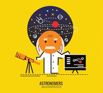 Astronomer with refractor telescope. Character thin line flat design. vector illustration