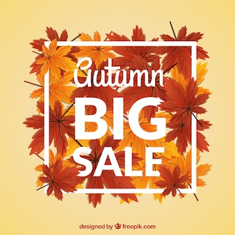Atumn sale with hand drawn leaves