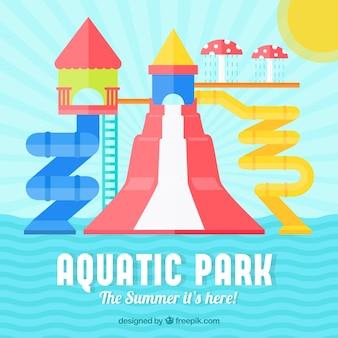Auquatic park background in flat design