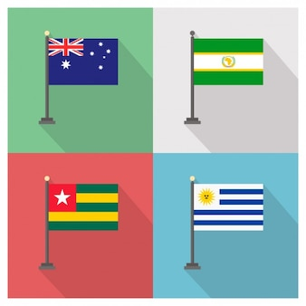 Australia African Union Togo and Uruguay Flags