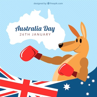 Australia day background of kangaroo with boxing gloves