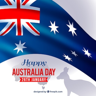 Australia day background with flag and kangaroo silhouette