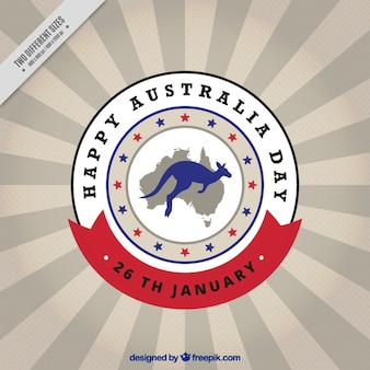 Australia day background with kangaroo and map in a circle