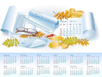 Autumn arquitecure 2013 yearly calendar vector
