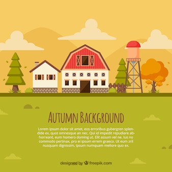 Autumn background with cool farm