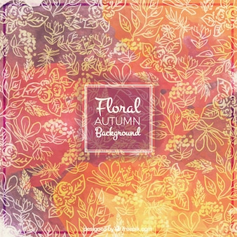 Autumn background with floral theme