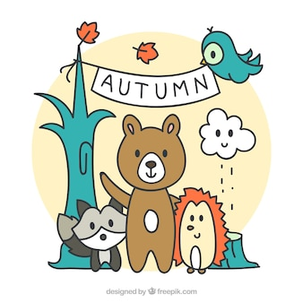 Autumn background with hand-drawn forest friends
