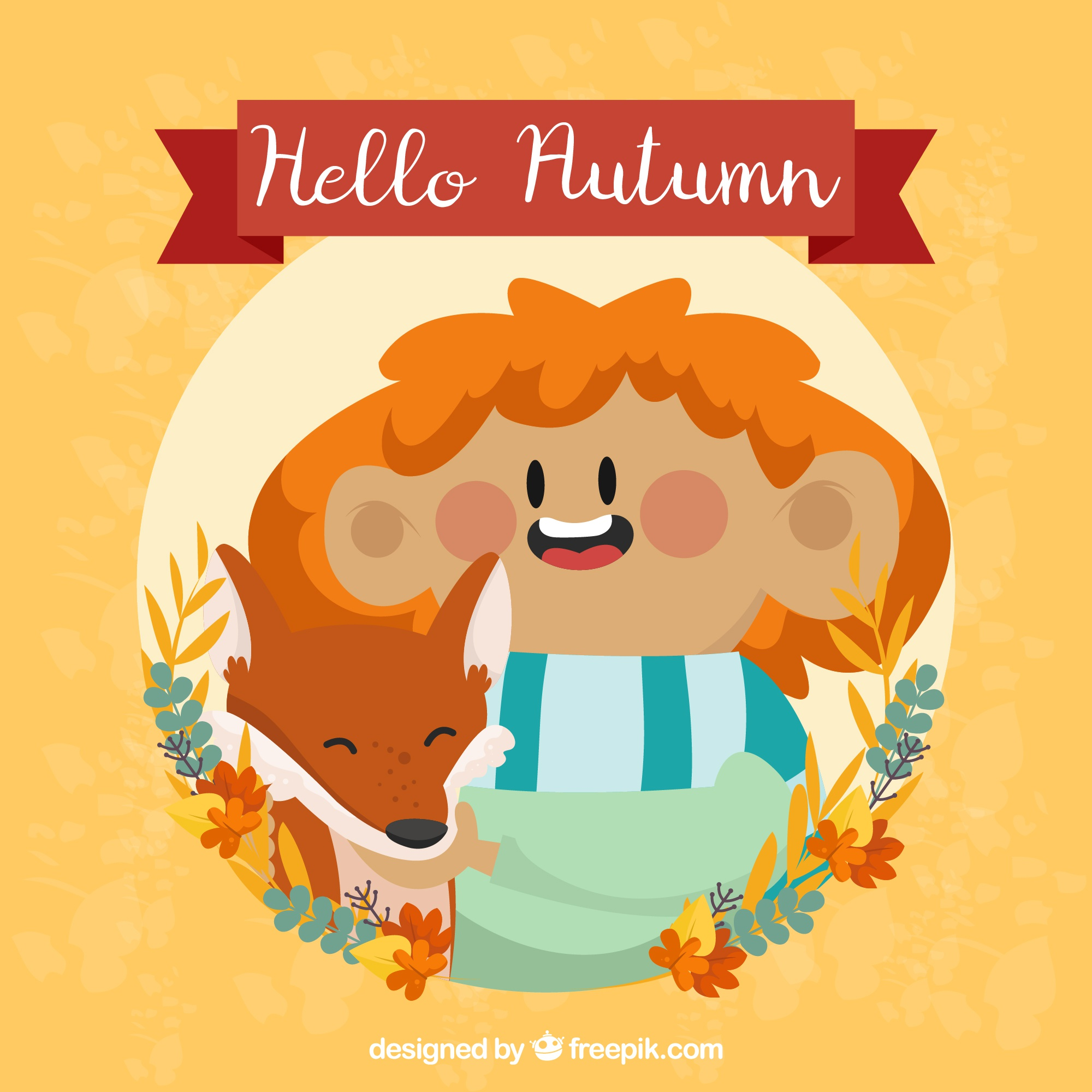 Autumn background with smiley boy and fox