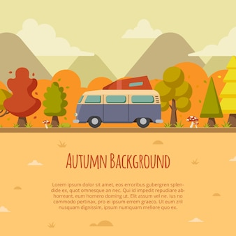 Autumn background with van on the road