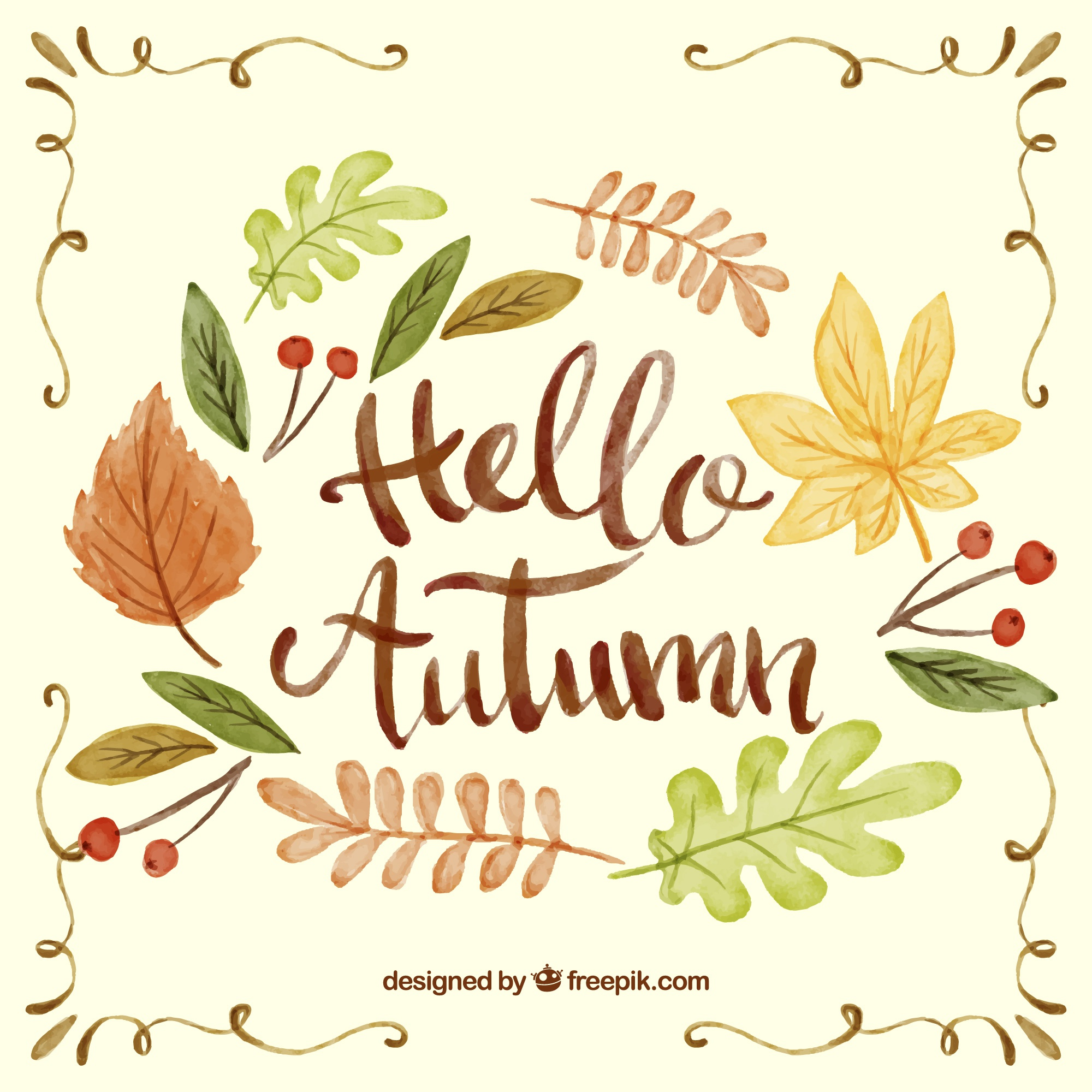 Autumn background with watercolor letters
