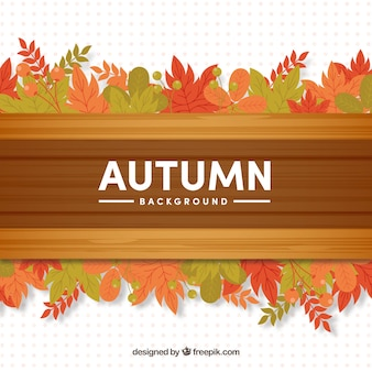 Autumn background with wood and leaves