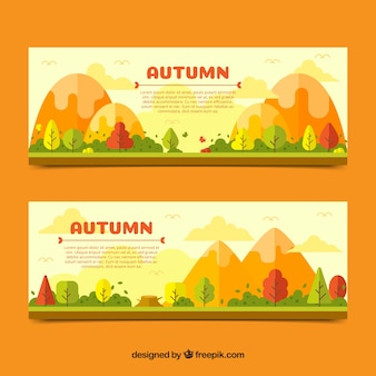 Autumn banner with landscape design