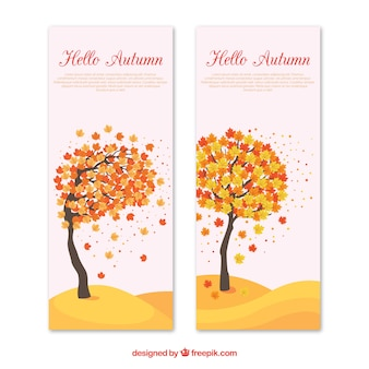 Autumn banner with tree