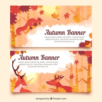 Autumn banners of animals in the forest