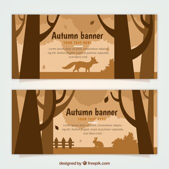 Autumn banners with animals in the nature