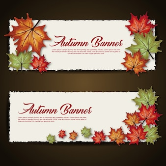 Autumn Banners with Watercolor Orange, Yellow and Green Leaves