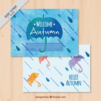 Autumn beautiful watercolor cards with umbrella