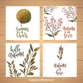 Autumn cards collection with watercolor style
