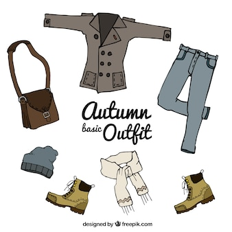 Autumn clothes hand-drawn